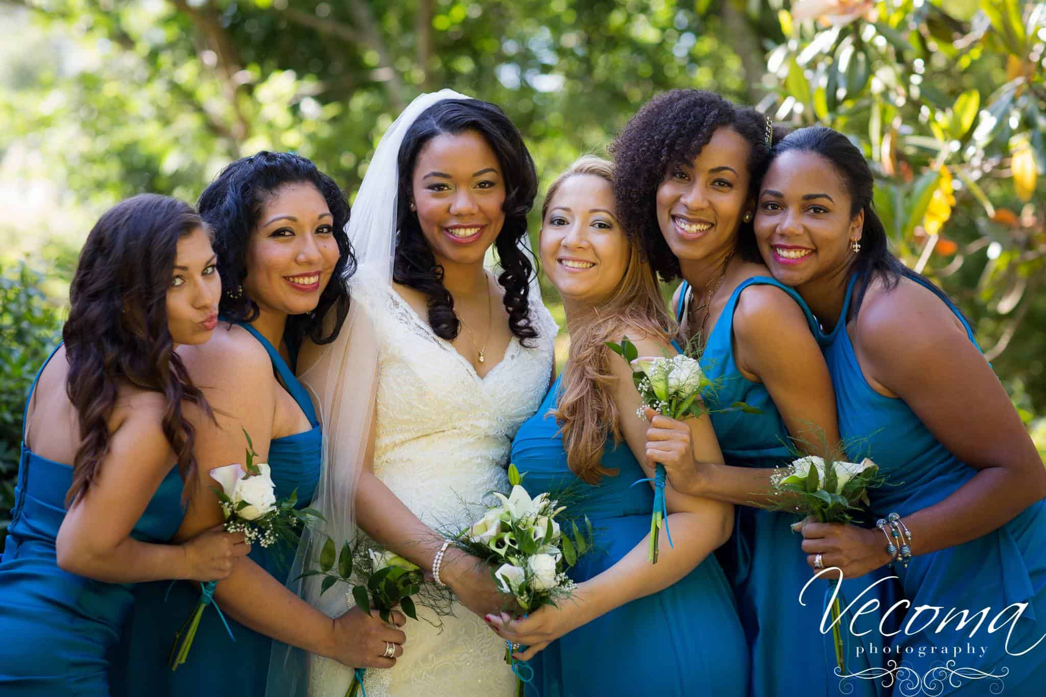 Congratulations jessica and caleb vecoma at the yellow the bridesmaids looked ravishing each in a different style of blue dress but all in the same bright cerulean shade jc10 ombrellifo Gallery