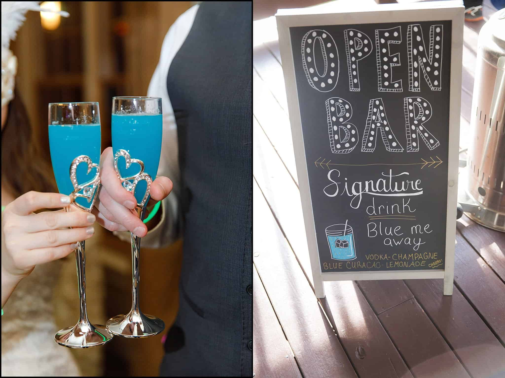 Bride and Groom Toasting with Teal Blue Signature Cocktails and Open Bar Sign on Chalkboard