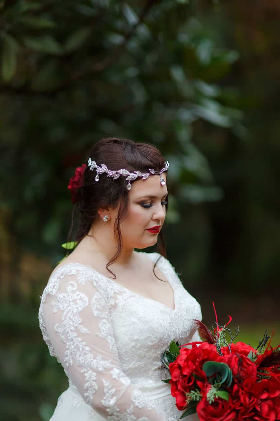 Medieval bride with elegant headpiece