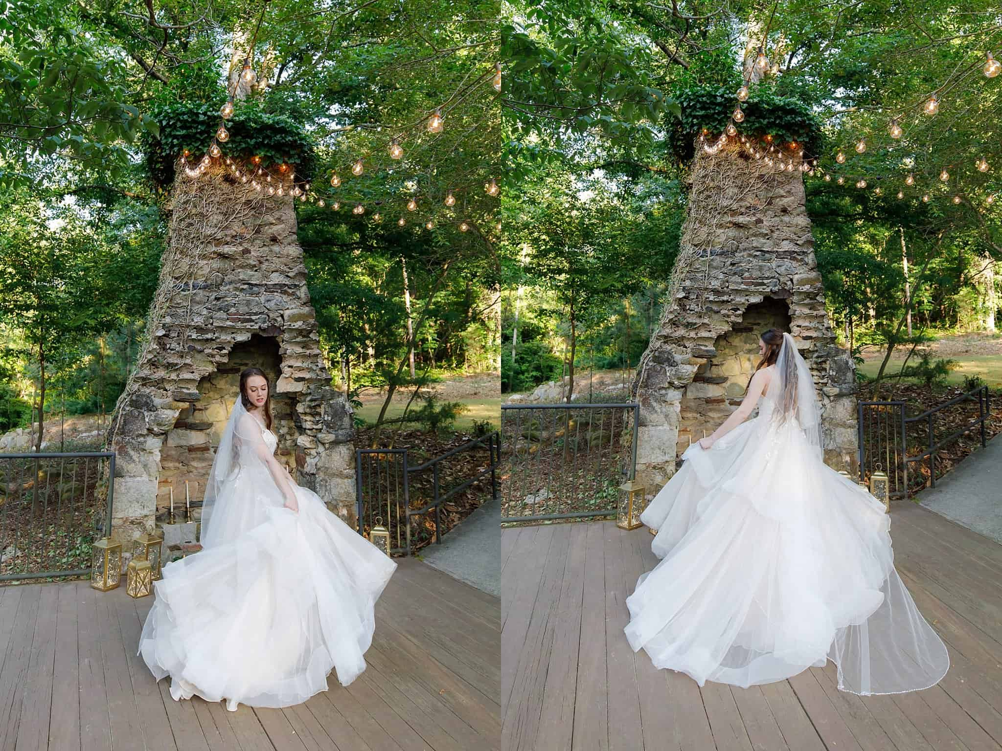 bride in flowing gown at fireplace