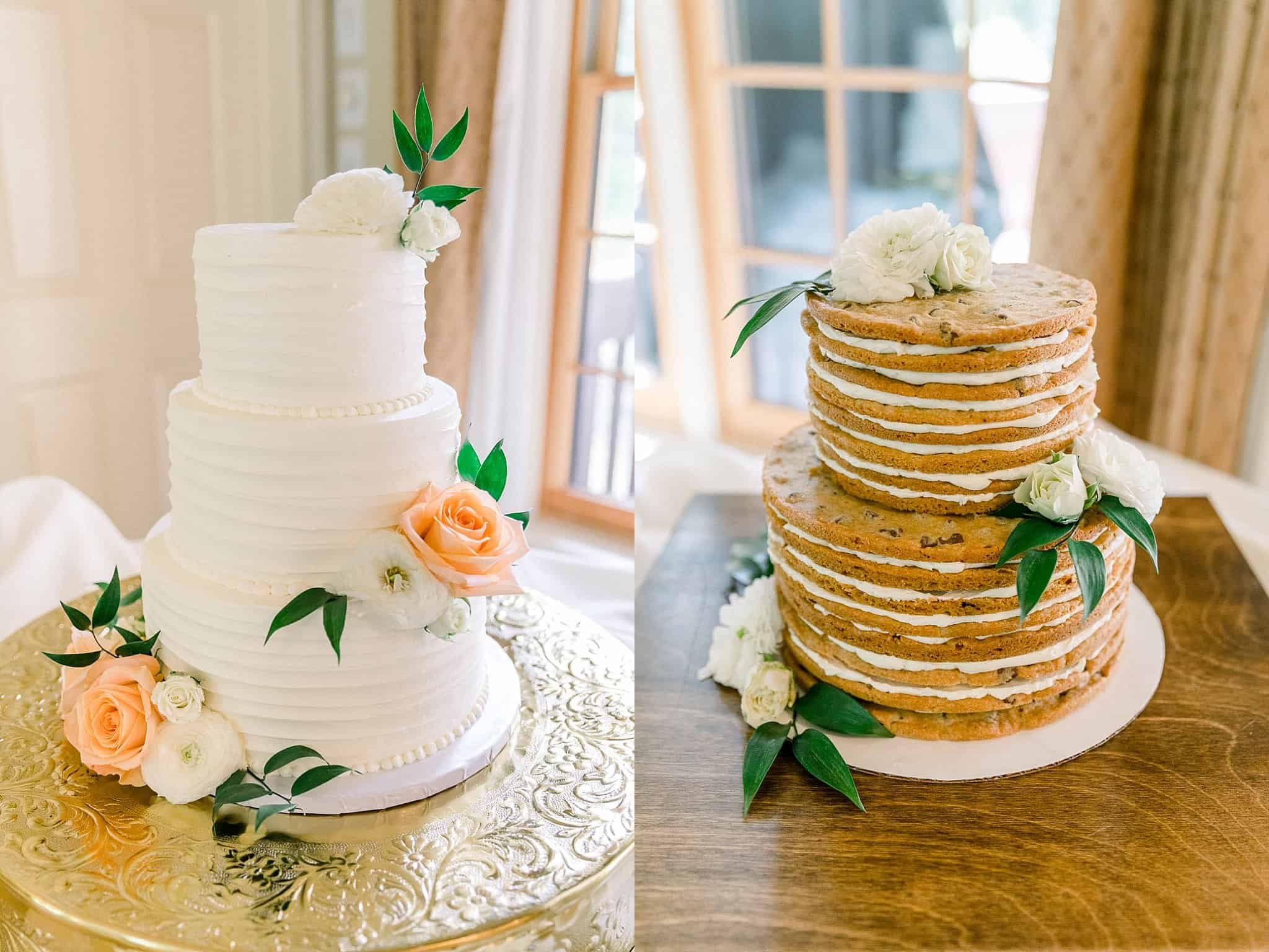 Wedding cake and stacked cookie cake