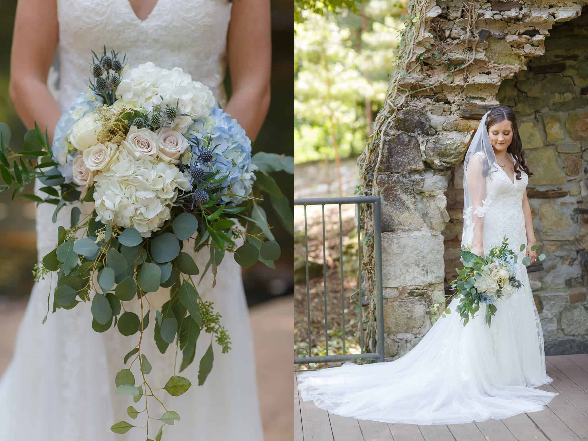 Bridal Bouquet with blue and cream hydrangeas, blush and ivory roses, blue thistle and eucalyptus and posing in front of chimney