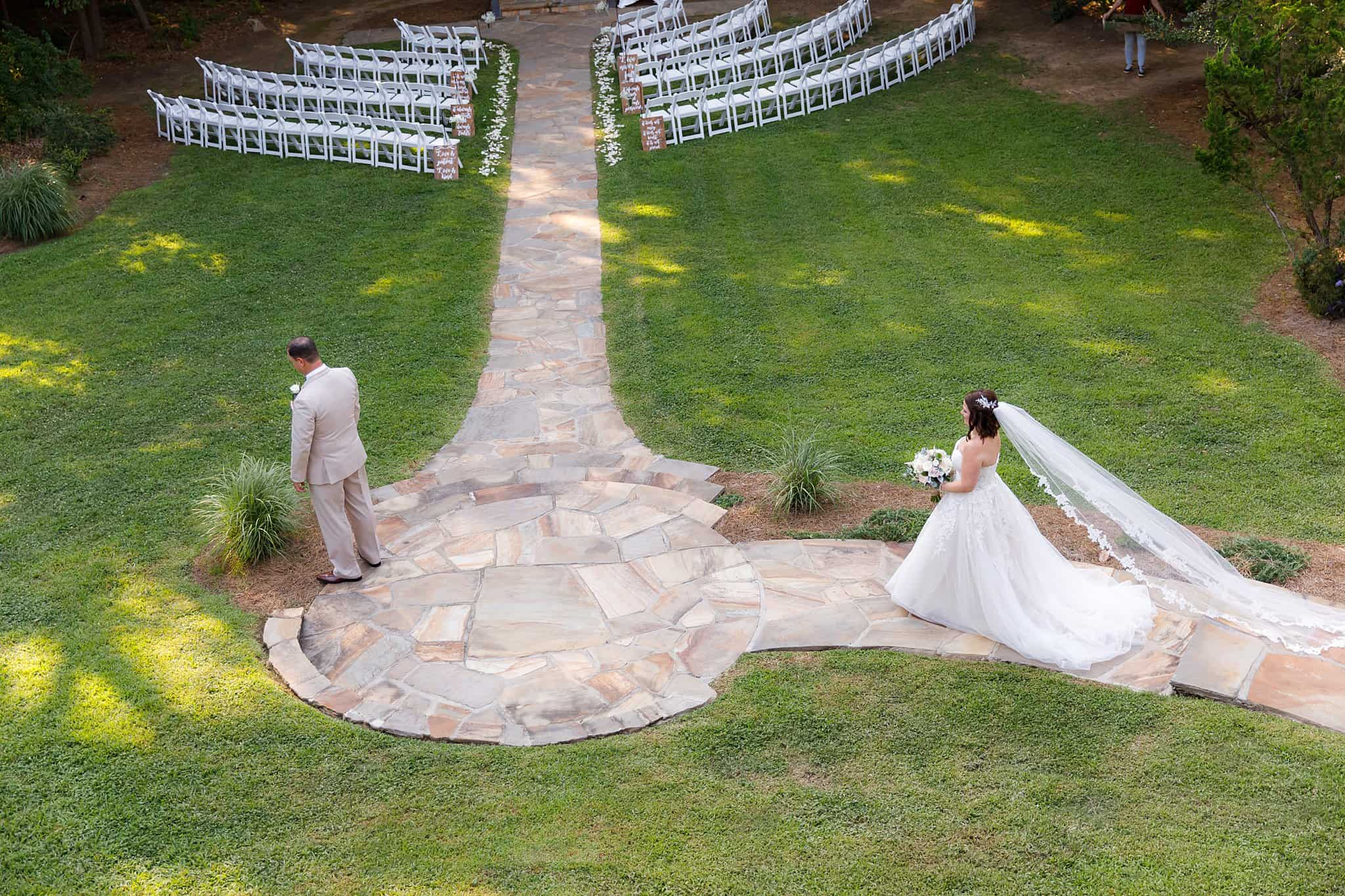 Bride and Groom at First Look outdoors before Wedding Ceremony