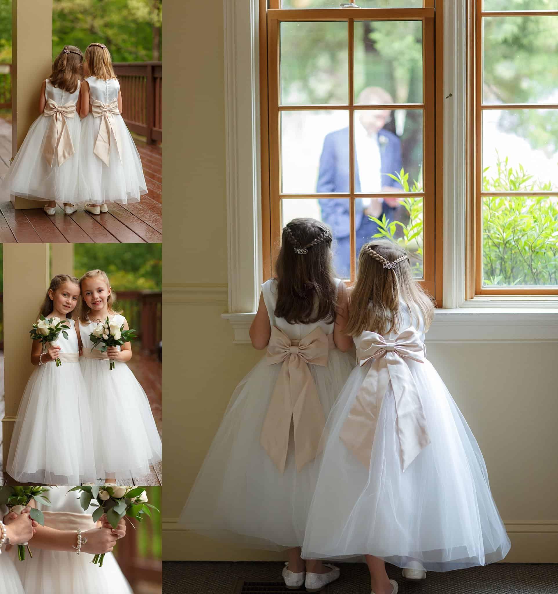 Cute flower girls in ivory gowns