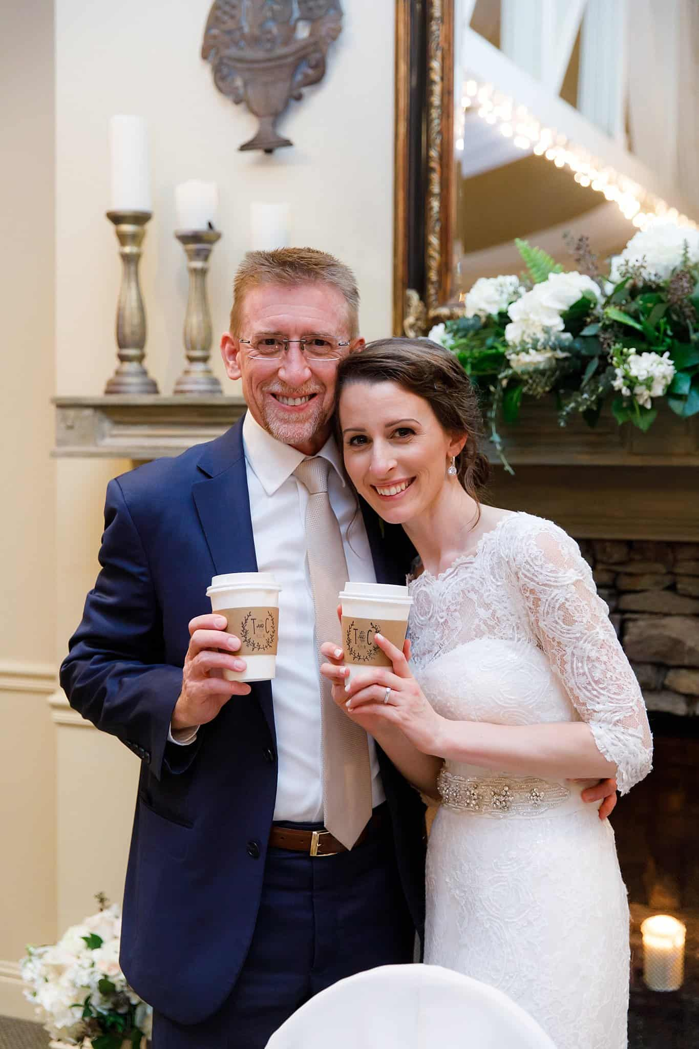 Bride and Groom with personalized coffee cups