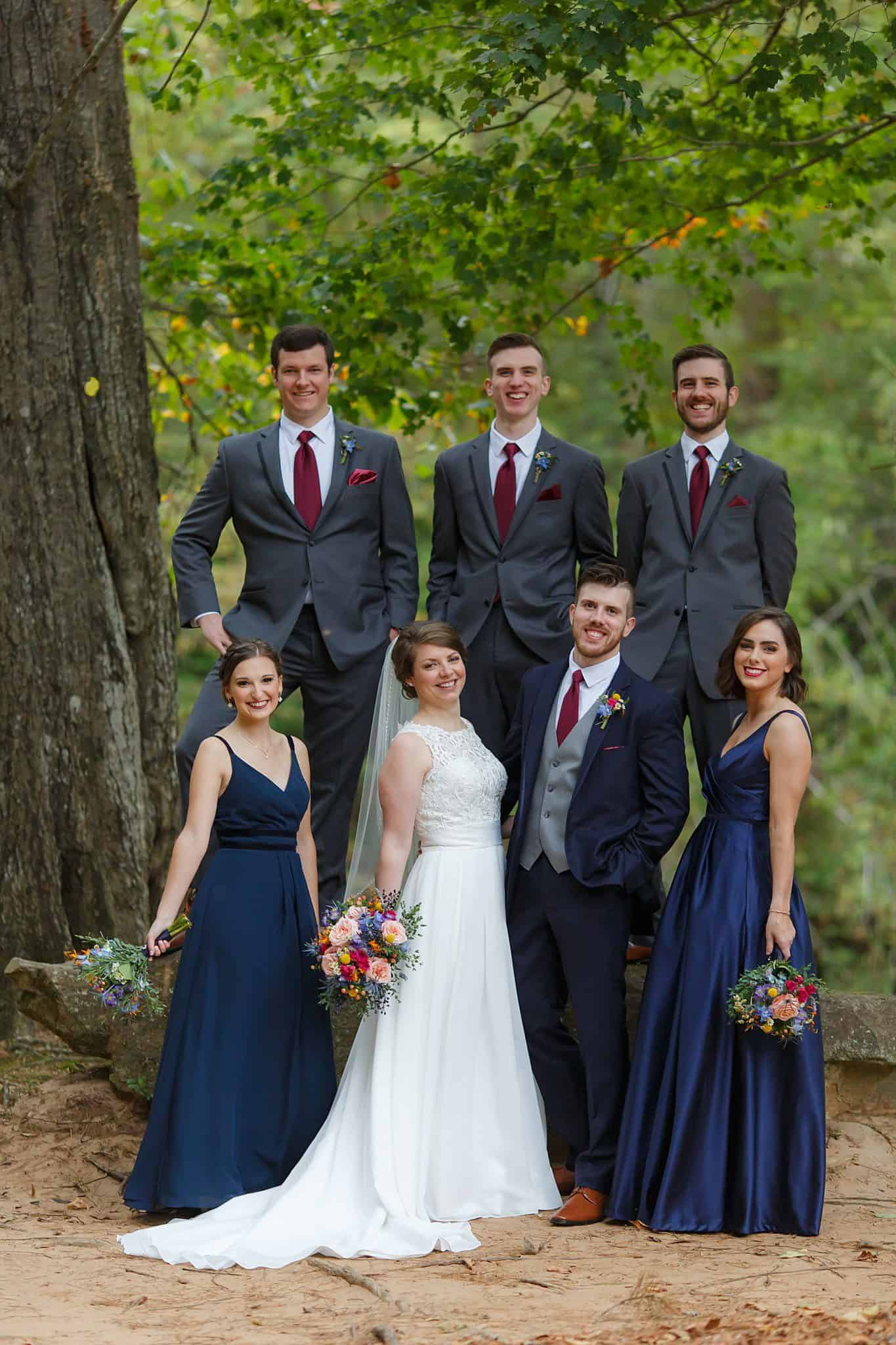 Navy blue and dark gray bridal party colors