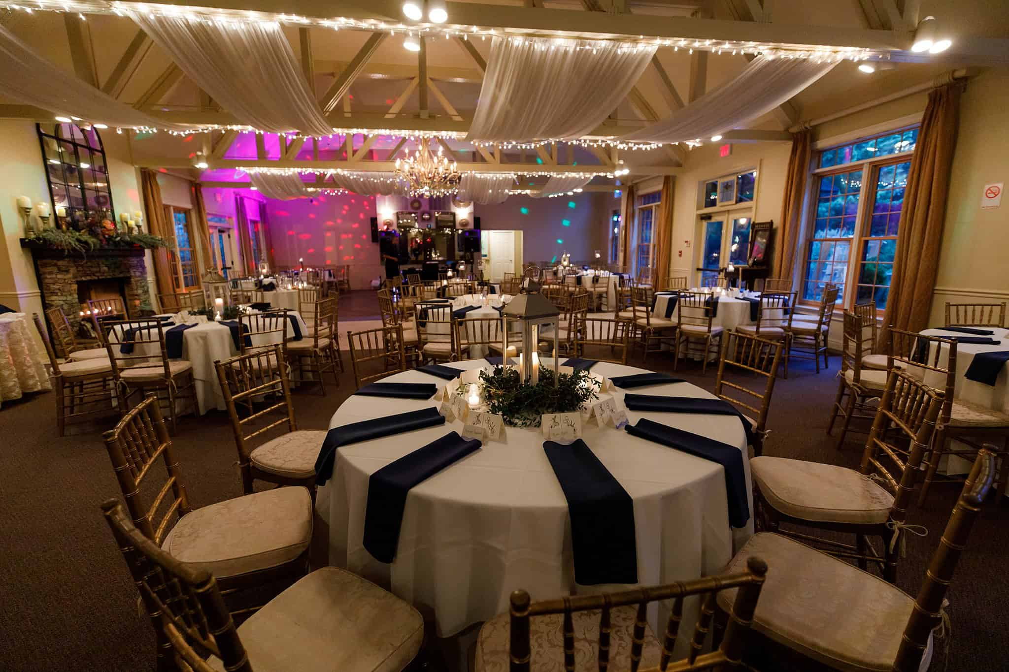Romantically lit reception view