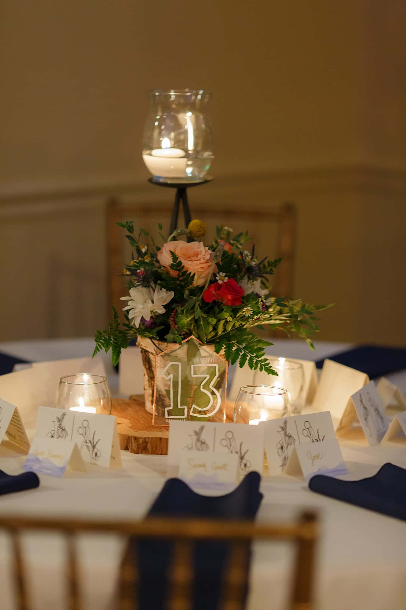 Floral tablescape with candles