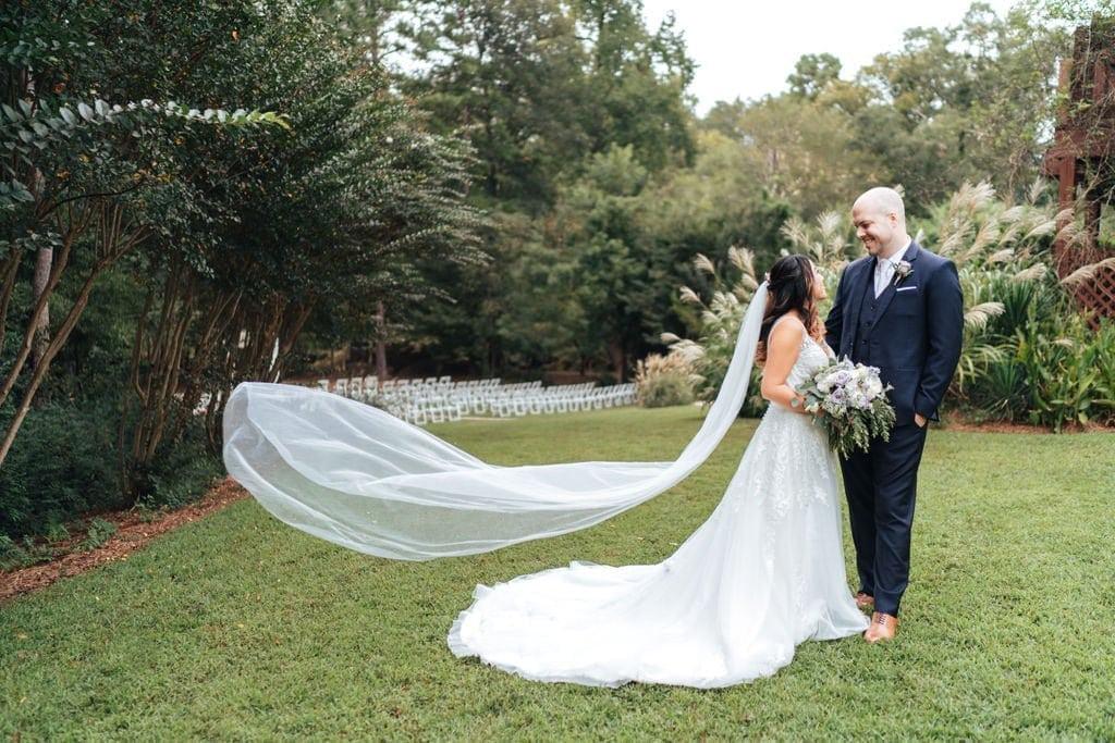 Flowing veil outdoor ceremony