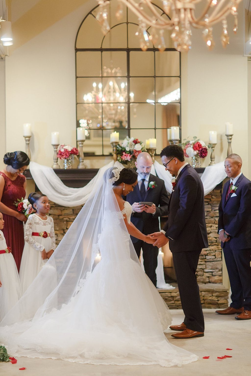 Indoor wedding ceremony ring exchange, Vecoma at the Yellow River