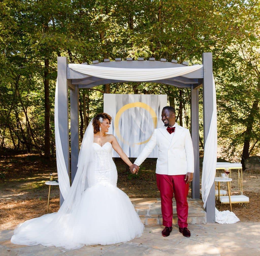 Red sequins daytime wedding