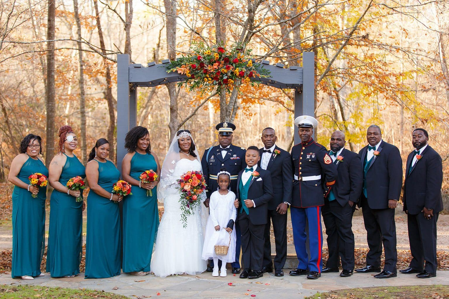 Teal Wedding party with Military best man and eye patch