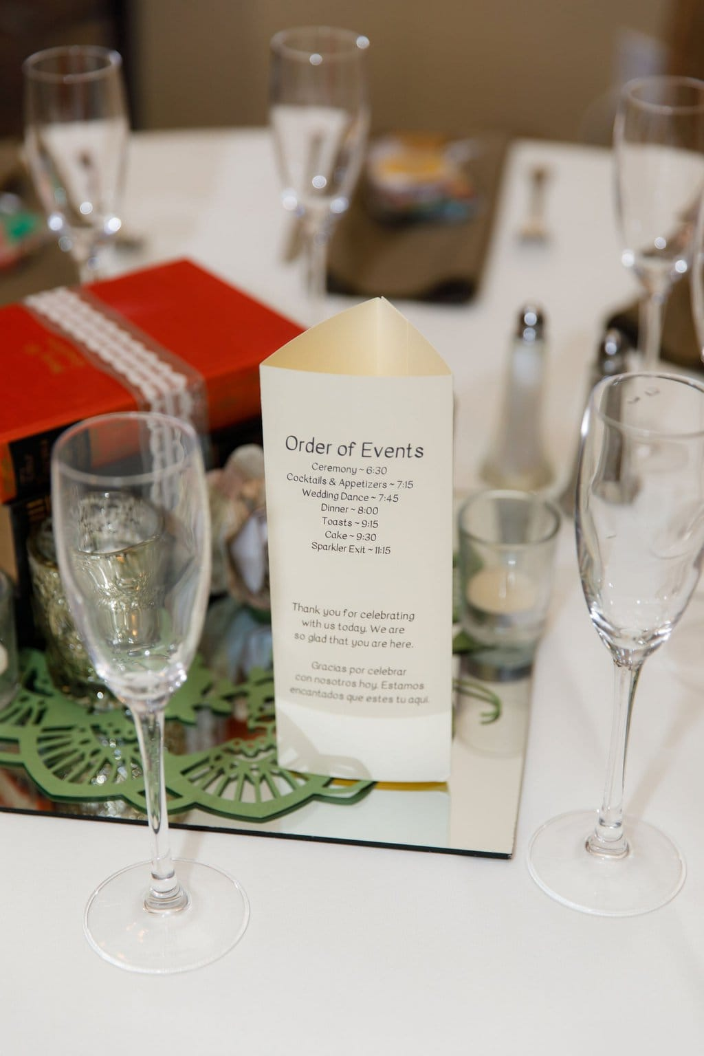 Order of events centerpiece